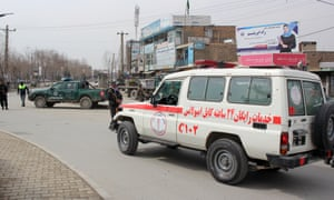 An ambulance transports the wounded to hospital after the attack in Kabul