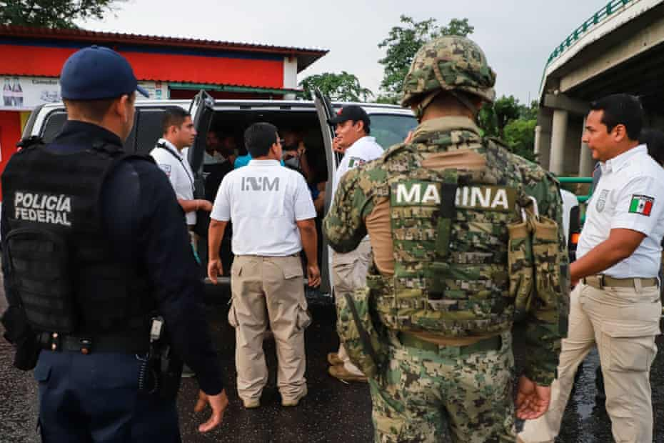 Mexican migration and military police found undocumented Indian migrants travelling on a bus at a checkpoint on the outskirts of Tapachula, Chiapas State, on 14 June 2019.