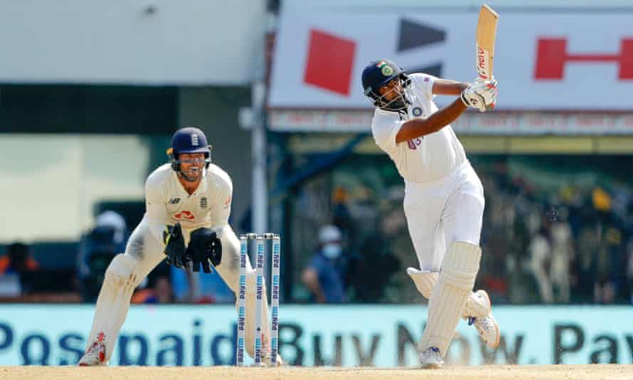 Ravichandran Ashwin hits to the boundary during his century on day three of the second Test between India and England at the Chidambaram Stadium in Chennai.