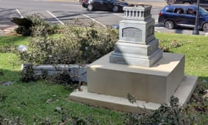 The remains of a Confederate statue in Marianna, Florida, after Hurricane Michael.