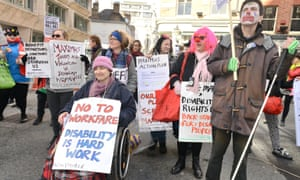 Disabled people protest against benefit cuts in London