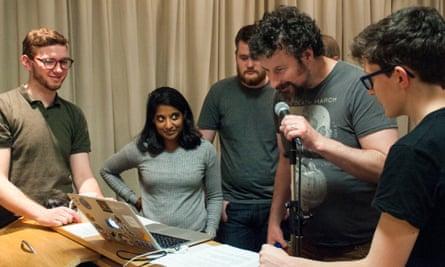 Members of Guardian Digital using verbal commands to control a Macbook