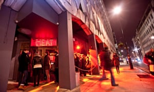 People queue outside the late-night London restaurant Meat Liquor.