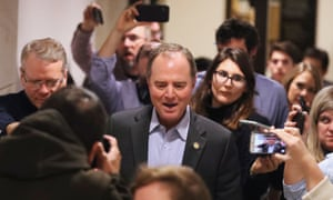 Adam Schiff speaks to the press as he leaves hearings in the Capitol on Saturday.
