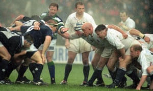 England and Scotland prepare to scrummage in the first Six Nations in 2000.