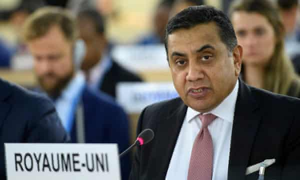 Lord Ahmad speaks during the opening of the 36th session of the Human Rights Council, at the UN headquarters in Geneva, 11 September 2017.