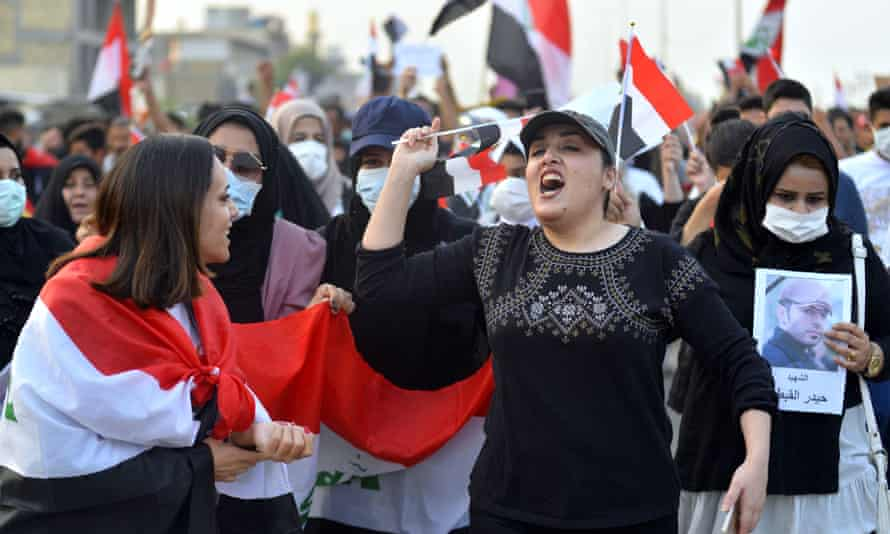 Protesters take to streets of Hilla, a city in central Iraq, on 28 October.