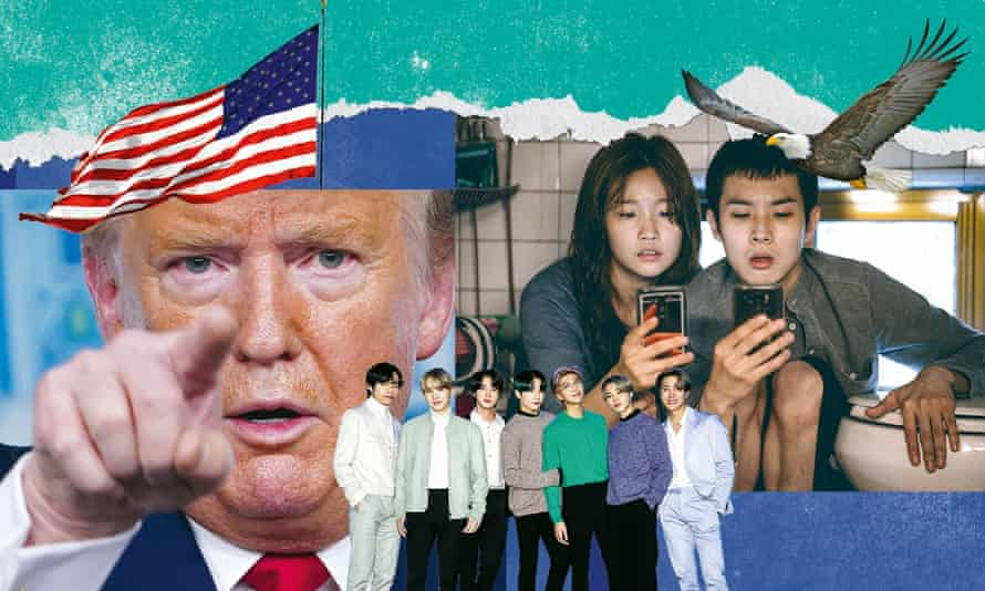 From left: Donald Trump, BTS and Parasite.