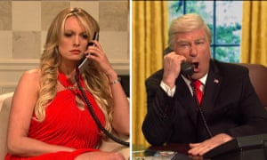 Stormy Daniels appears with Alec Baldwin, playing Donald Trump.