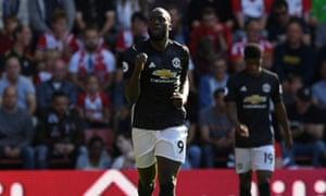Romelu Lukaku celebrates scoring the opener for Manchester United.