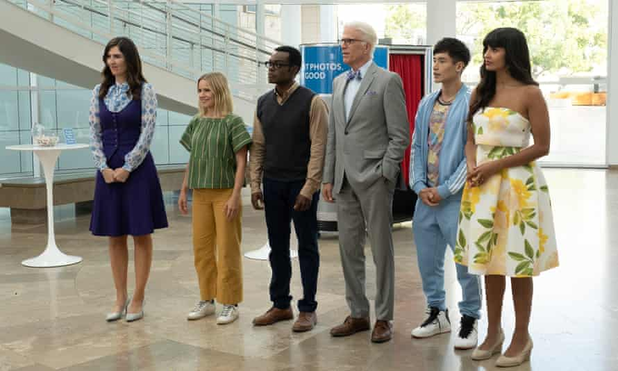 Quizzical … as Chidi, centre, in The Good Place.