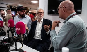 Jeremy Corbyn visiting a union radio stall at the Labour conference.
