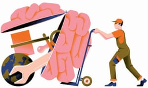 Illustration of tools in a brain, all being pushed along on wheels by a workman