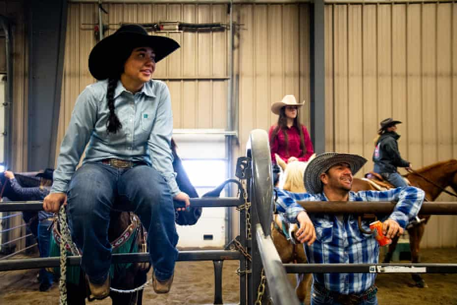 Simonson and her brother, Buckshot Simonson, wait for her run at the Copper Springs Ranch rodeo, just outside of Bozeman, Montana.