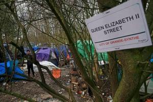 A street sign inside the camp, Queen Elizabeth II Street.