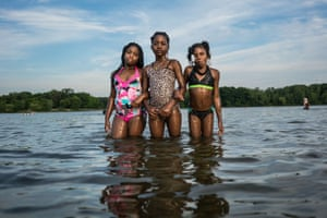 Kamya, Mhy'angel and Jaziah hang at Bluebell Beach in Flint, Michigan.