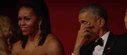 President Obama wipes away a tear as Aretha Franklin sings.