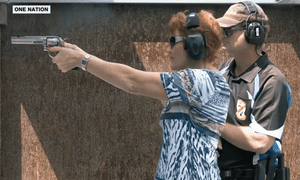 One Nation leader Pauline Hanson at a shooting range.