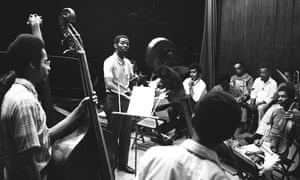 Muhal Richard Abrams, centre, looking out over the musicians of the AACM's experimental band as he conducts a rehearsal in the mid-1960s. Photograph: Robert Abbott Sengstacke/Getty Images
