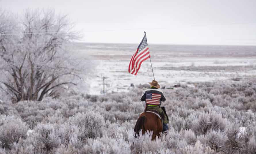 A protester rides his horse during the occupation of the wildlife refuge in Oregon.
