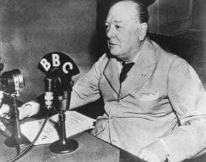 Winston Churchill broadcasts from the White House in 1943.