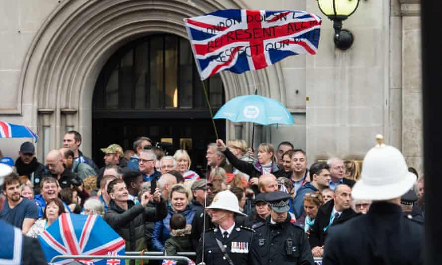 Brexit supporters in Westminster protest during the Monday's state opening of parliament.