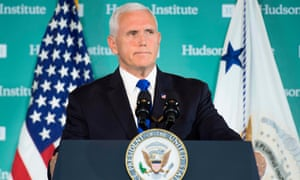 Mike Pence speaks at the Hudson Institute in Washington DC on 4 October.