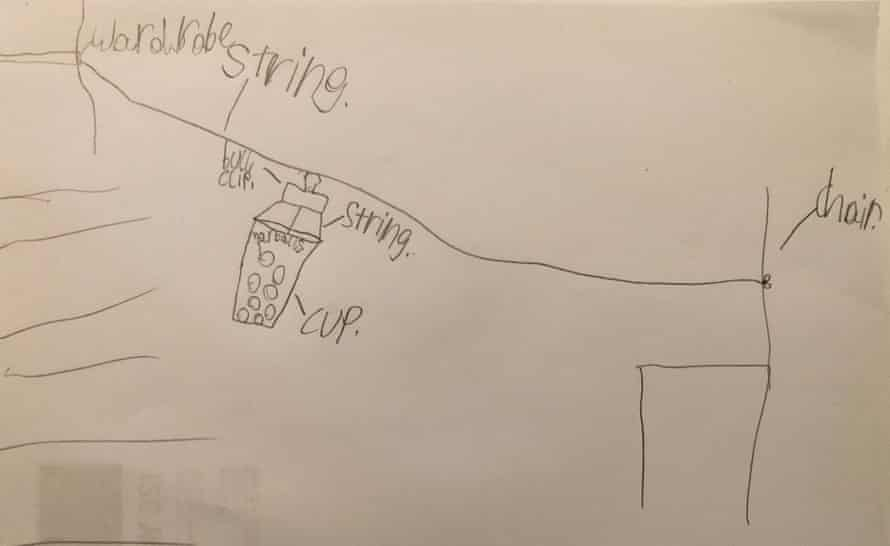 a pencil drawing of the zipline