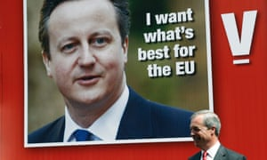 Poster showing David Cameron with Nigel Farage in the front