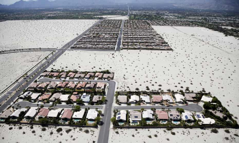 Homes in the Palm Springs, where the average daily water usage per person is 201 gallons – more than double the California average.