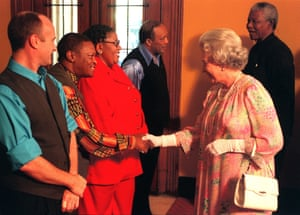 Maskela meets the Queen backstage at the Royal Albert Hall in 1996 – also present were Phil Collins, Sibongile Khumalo, Quincy Jones and Nelson Mandela