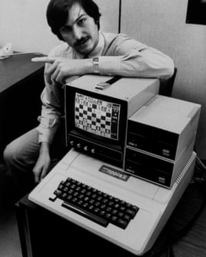 Apple II computer and Steve Jobs