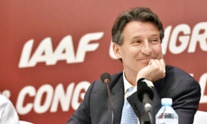 Sebastian Coe after his election as the new president of the IAAF.