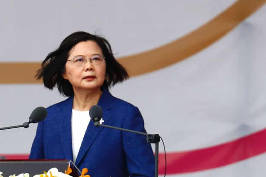 Taiwanese president Tsai Ing-wen delivers her speech during the national day celebrations on Sunday.