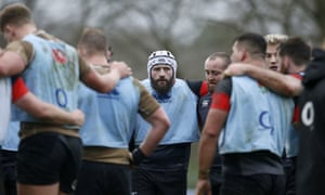Joe Marler (centre, in scrum cap) has been training with England during his suspension.