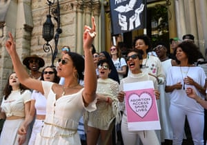 Women from the Resistance Revival Chorus take part in an abortion rights rally in front of the Middle Collegiate Church in the East Village of New York on May 21, 2019.