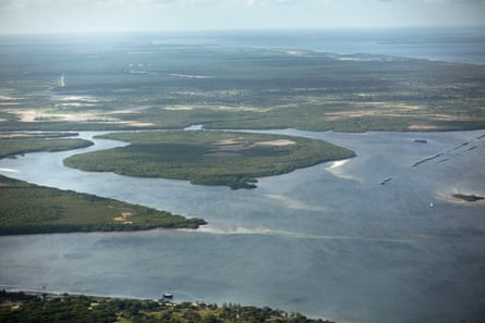 An aerial view of the strait between Lamu island and the mainland in eastern Kenya.