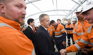 Bill Shorten meets construction workers for the West Gate Tunnel project in Melbourne.