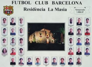A collage hanging inside La Masia shows Barcelona youth players from the 1996/1997 season including Andrés Iniesta, Carles Puyol and Victor Valdés.
