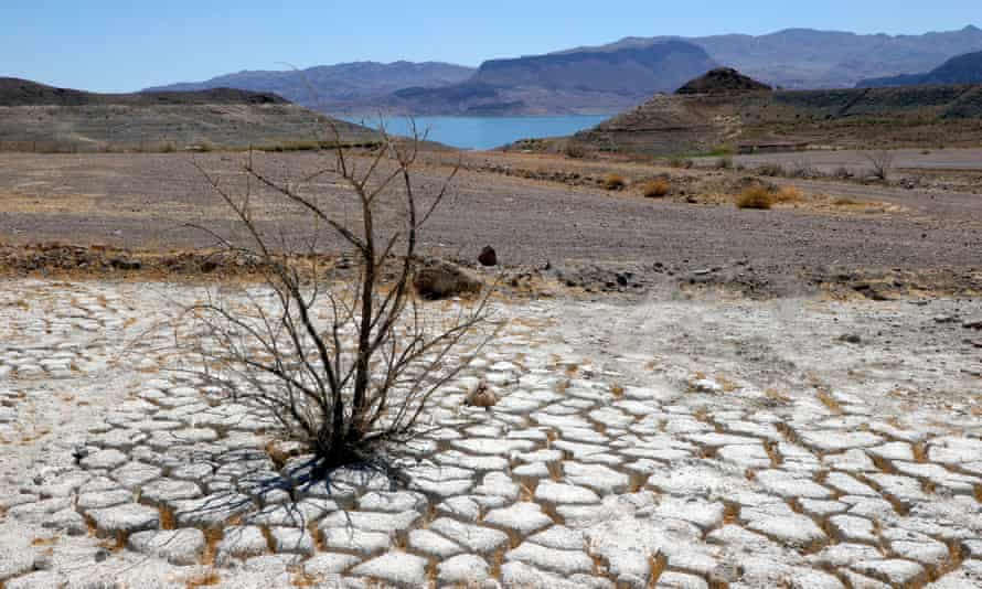 Lake Mead, Nevada, is seen in the distance. The state could see record heat in the coming days.