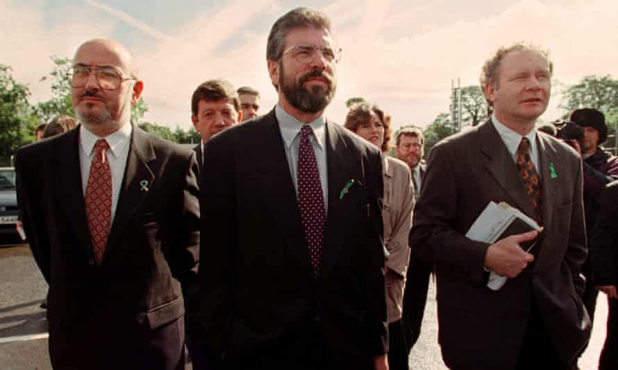 Gerry Adams and Sinn Fein negotiators arrive at Stormont for peace talks in 1997.