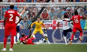 After a few shaky moments at the back, England concede a goal. Panama's Felipe Baloy exploits a defensive mix-up and slides the ball into the corner.