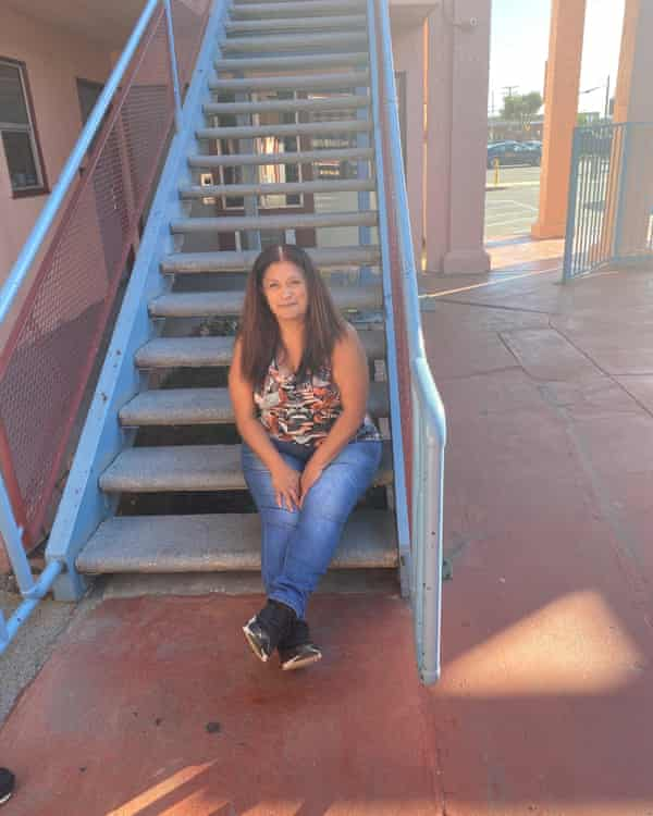 Virginia Gómez lives with her family in the Courtyard Motel in Downey, California.