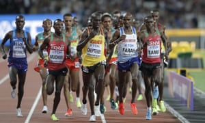 Mo Farah moves up the field during the 10,000m.