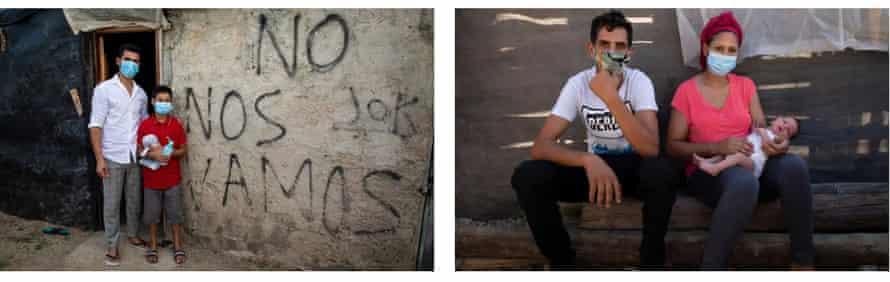 Top: migrant workers in El Nazareno. Below: families in the shantytowns of La Molineta (left) and Don Domingo