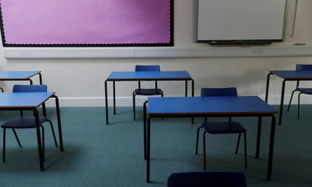 Socially distanced school desks
