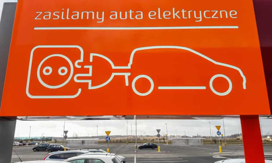 A charging point for electric cars in Gdansk, Poland.