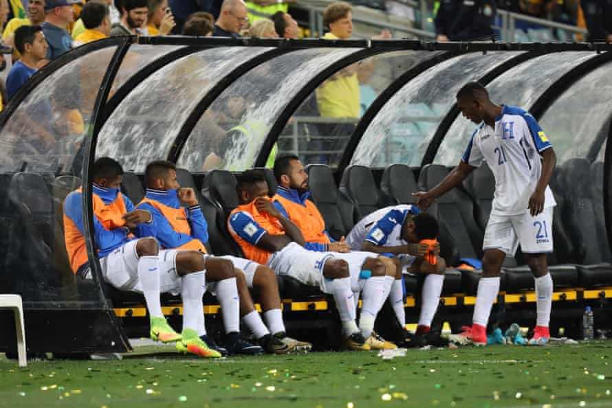 Honduras players look dejected after their play-off defeat in Sydney.