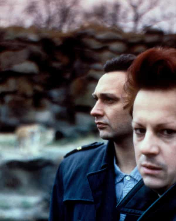 Richard H Kirk (right) and Stephen Mallinder of Cabaret Voltaire, 1984, after Chris Watson had left the band.