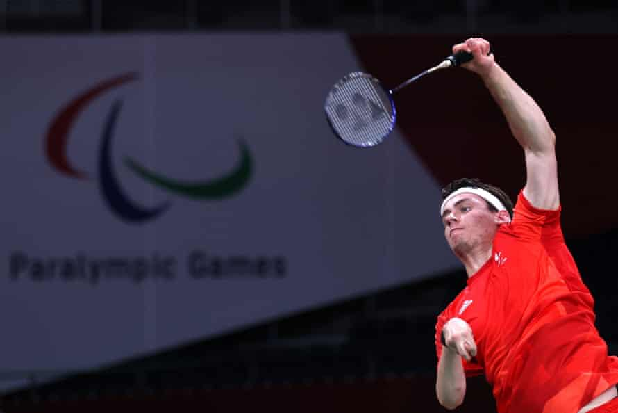 Daniel Bethell competing in the Paralympic badminton contest.